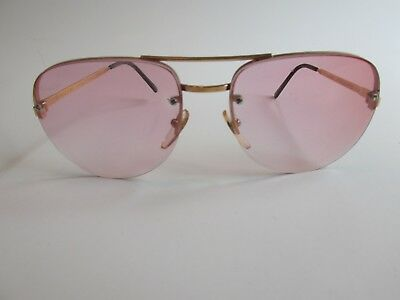 EI 5/000 58 Rare Vintage Gold Aviator Sunglasses Made in France
