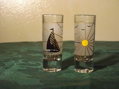 Lake Tahoe California  Nice Frosted Glass Gold Toned   Tall Shot Glass