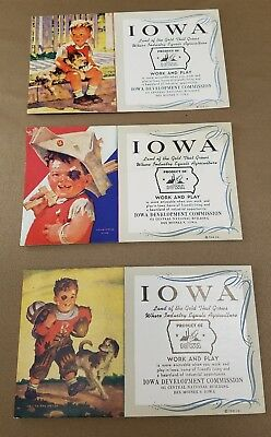 Lot of 3 1950s Ink Blotter Cards Iowa Development Commission Work And Play IA