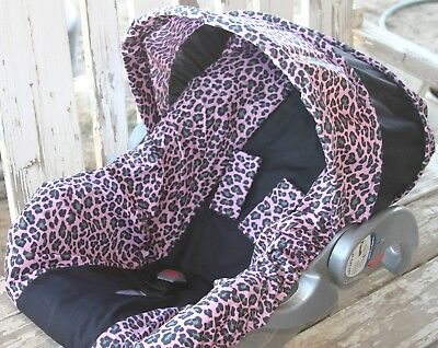 Infant Car Seat Cover And Hood Pink Gray Leopard With Black Minky