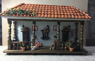 Handmade Colombian decorative mini house to hang from the wall  / Coffee House