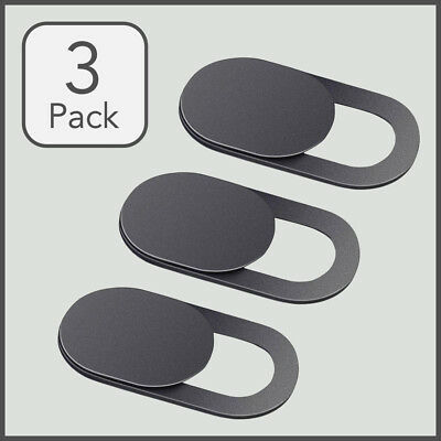 3 Pack Webcam Privacy Cover For Phone, Laptop and Tablet - Black