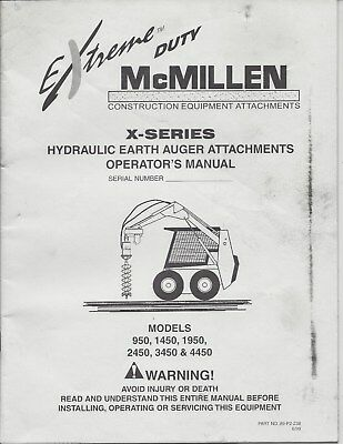 McMillen Hydraulic Post Hole Digger Auger Operator Manual