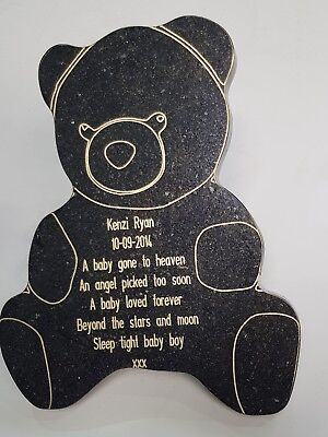 Baby Granite Memorial Grave Plaque Stone Engraved Black Stone