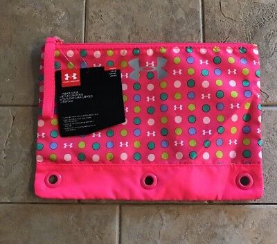 NWT Girls UNDER ARMOUR Polka Dot Pencil Case UA 10x7 Pink Pen Three Ring Kids