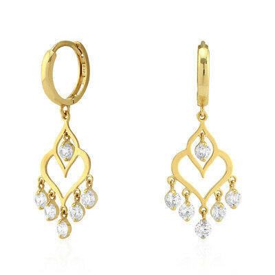 c6d7d7af09fd5 14K YELLOW & White Gold Created Diamond Chandelier Dangle Huggie Hoop  Earrings