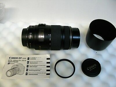 Canon EF 75-300mm ULTRASONIC, IMAGE STABALIZED Zoom Lens, hood, filter, MINT