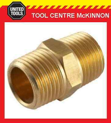 "1/4"" Bsp Brass Hex Nipple Threaded Male To Male Joiner Air Fitting"