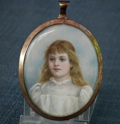 Fine Antique Early 19th Century Superb Painted Miniature Portrait Of Young Girl