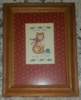 FIGI GRAPHICS LOVE ME LOVE MY CAT Matted and Framed Picture ~ For The CAT LOVER