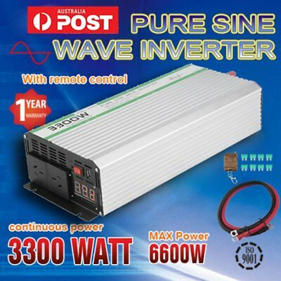 Pure Sine Wave 3300W(6600W Max) 12V-240V Power Inverter Caravan + Remote Control