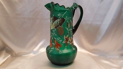 """""""large"""" Vtg.   Depression Glass  Ruffled  Pitcher  Satin Green  ~ Hand Painted ~"""