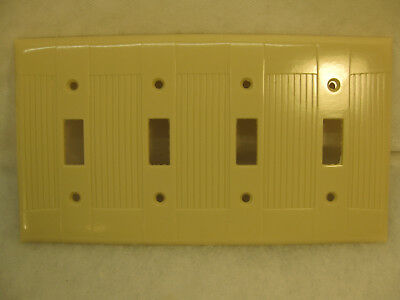 1 New Old Stock Vintage Ribbed Ivory Bakelite 4 Gang Switch  Wall Plate Covers