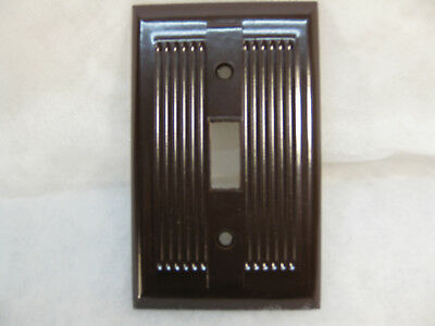 6 Nos Vintage Art Deco Ribbed Brown Bakelite Single Switch Wall Plate Covers