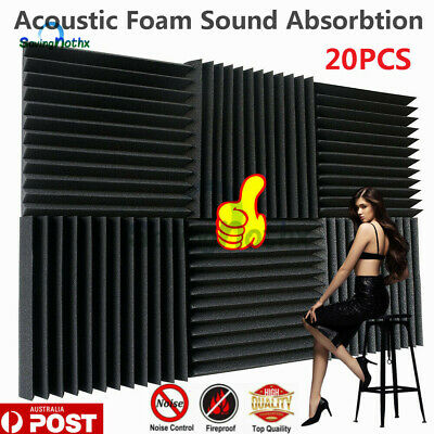 20pcs Black Acoustic Foam Sound Absorbtion Proofing Panel Wedge Studio 30CMX30CM