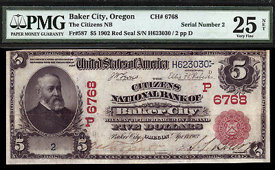 $5 1902 Red Seal Citizens National Bank of Baker City, Oregon CH 6768 TOUGH NOTE