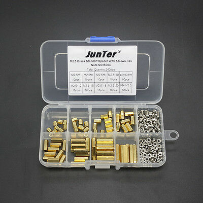 240pcs M2.5 Brass Standoff Spacer 2.5mm Female x Female With Hex Nuts NO.BD04
