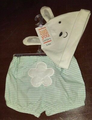 Carter's Just One You Baby 3-6 mos. Bunny Hat & Striped Diaper Cover Set