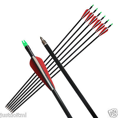 6Pcs Archery Fiberglass Arrows Target Practice Nocks Fletched Hunting Shooting