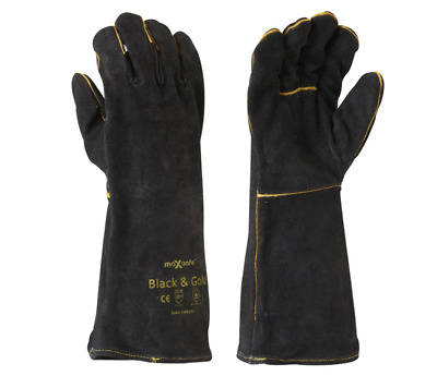 Maxisafe Black and Gold Welding Gauntlet Gloves Fabrication Foundry Safety