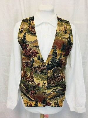 Vintage 80's Western Tapestry Vest. Large. Cowboys And Horses. Large. Unisex.