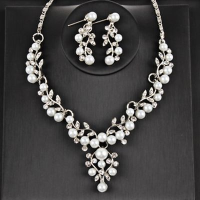 Earrings Imitation Pearl Necklace Bridal Jewelry Sets Silver Plated Wedding