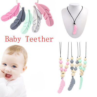 10 Pcs Baby Teether Silicone Feather DIY Jewelry Teething Necklace Baby Nursing