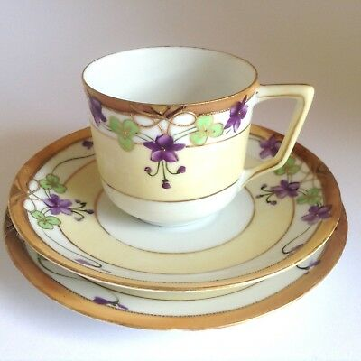1900s Antique NIPPON Noritake Hand Painted Moriage Trio Cup Saucer Plate Violets