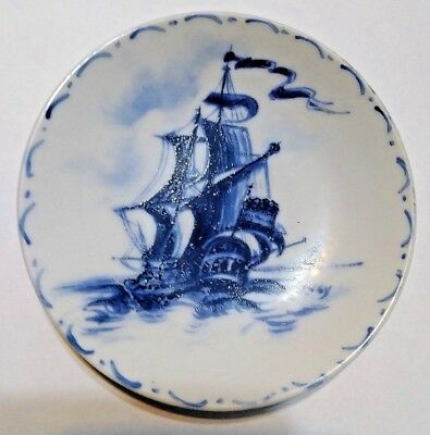 """Late 19th Century Delft 4"""" Blue White Tin Glazed Earthenware Saucer Plate 0181"""