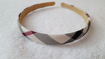 Women's Hair Accessories Brown Beige Plaid Checkered Cluster Headband Handmade
