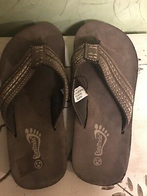 013142a2e95d Mens Sandtraps Brown Leather Braided Strap Slip-on Flip Flops Sandals Size  8 9