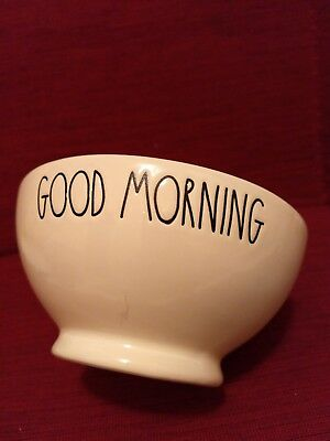 NEW! Rae Dunn GOOD MORNING Bowl Very RARE!! HTF Coral Red Inside
