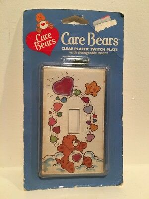 VTG Care Bears Tender Heart Clear Plastic Switch Plate w/changeable Insert NIP
