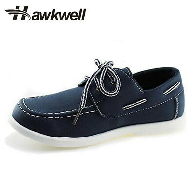 Hawkwell Kids Boys Students School Shoes Solid Flats Breathable Lace up Sneakers