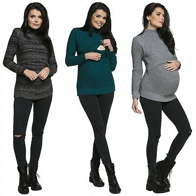 Zeta Ville. Women's Pregnancy Nursing Sweater Turtle Neck Long Sleeves. 491p