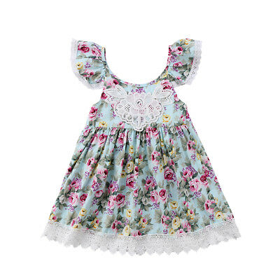 Princess Kids Baby Girls Dress Party Dress Ruffle Tulle Wedding Tutu Dress AU