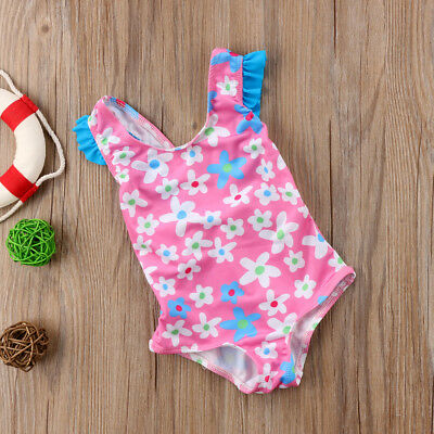 Girls Official Little Flower Bowknot Swimming Costume Swim Suit 1-4Years