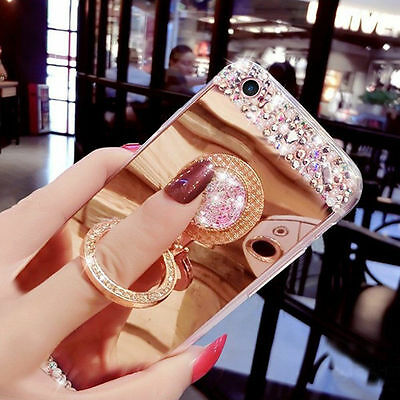 Bling Diamond Crystal Mirror Slim Shockproof Ring Holder Case For iPhone XS Max