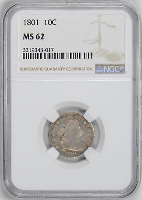 1801 Draped Bust 10C Ngc Ms 62