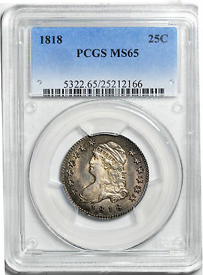 1818 Capped Bust 25C Pcgs Ms 65