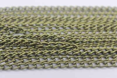 5m Antique Bronze Twisted Curb Unfinished Chain 3mm x 5mm Jewellery Making