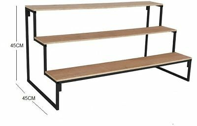 3 Tier Step Unit 1.2M - 1.8M Long Market Stall Display Stand 150mm x 150mm Steps