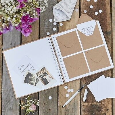 Kraft Wedding Envelope Guest Book from Ginger Ray - 80 Envelopes + Note Cards
