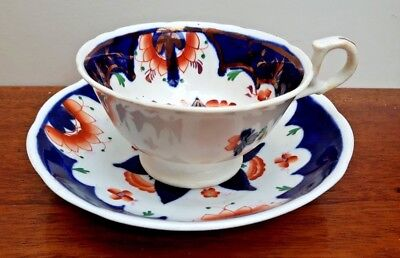 Scarce Gaudy Welsh Teacup & Saucer - Pinwheel Pattern c1850 Nice Condition