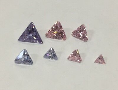 Cubic Zirconia Loose Stone TRILLION TRIANGLE shape crystal gem PREMIUM blue pink