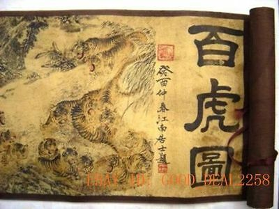 Chinese Ancient picture silk paper 100 Buddha  tiger  Scroll painting
