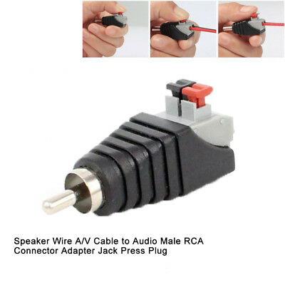 Speaker Wire A/V Cable to Audio Male RCA Connector Adapter Jack Press Plug Safe