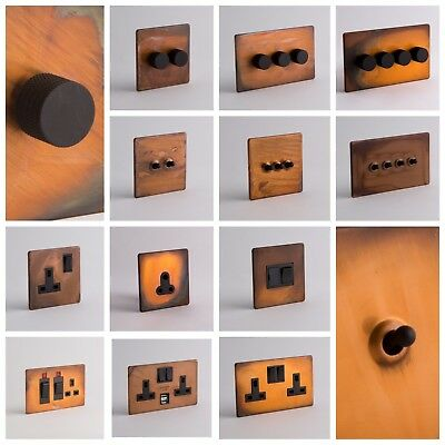 DESIGNER SOCKETS AND SWITCHES - Tarnished Copper with Black