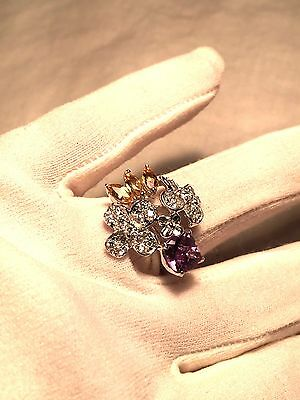 Genuine Amethyst Real White Sapphire Vintage 925 Sterling Silver Size 7 Ring