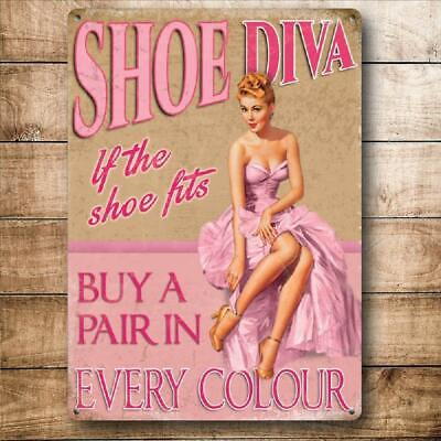 Vintage Style Pin Up Girl Metal Sign Plaque Shoes Pink Gift 15 x 20 cm